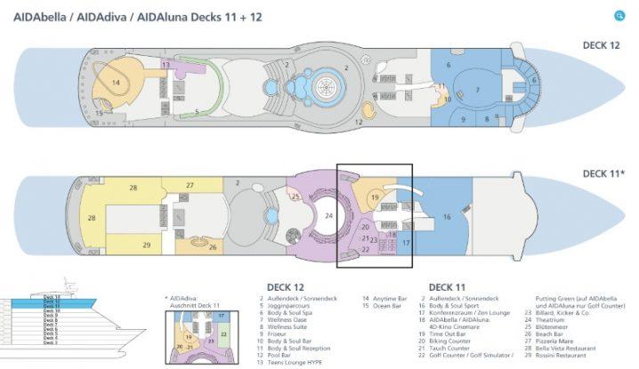 AIDAbella Deck 11 und 12