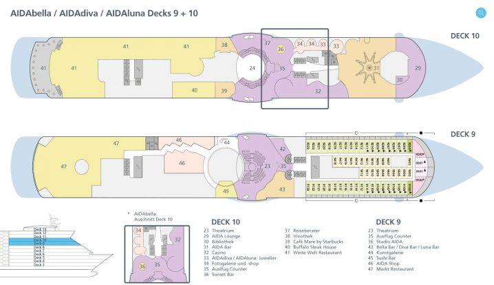AIDAdiva Deck 9 und 10