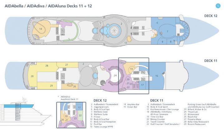 AIDAluna Deck 11 und 12