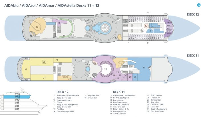 AIDAsol Decks 11 und 12