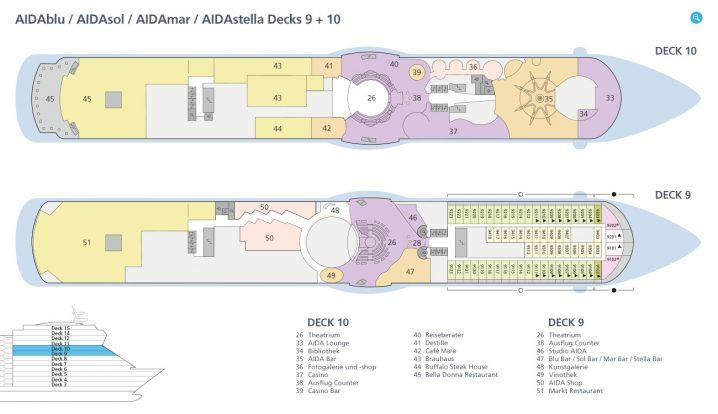 AIDAsol Decks 9 und 10